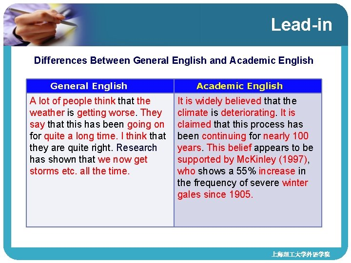 Lead-in Differences Between General English and Academic English General English A lot of people