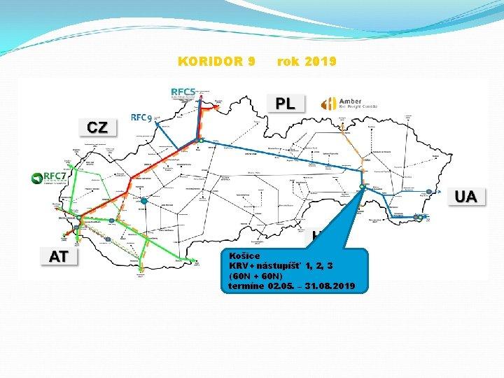 KORIDOR 9 rok 2019 Košice KRV+ nástupíšť 1, 2, 3 (60 N + 60