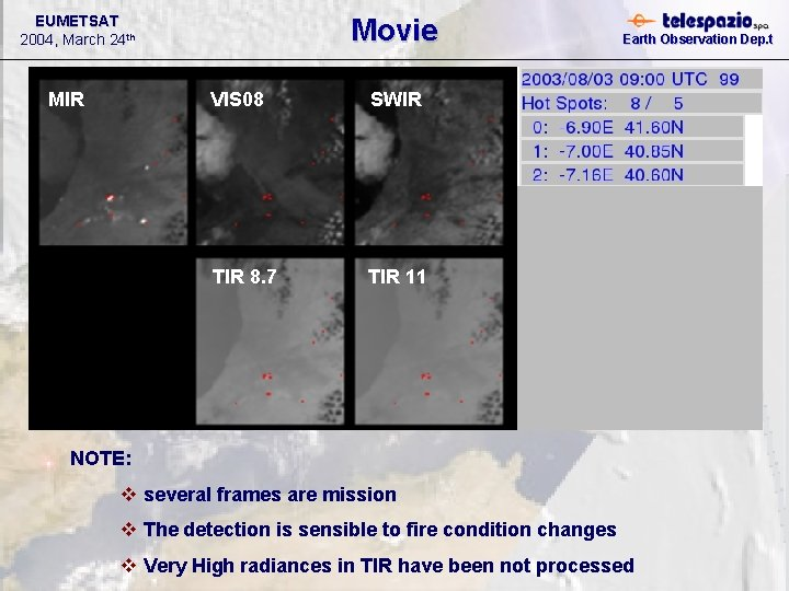 EUMETSAT 2004, March 24 th MIR Movie VIS 08 SWIR TIR 8. 7 TIR
