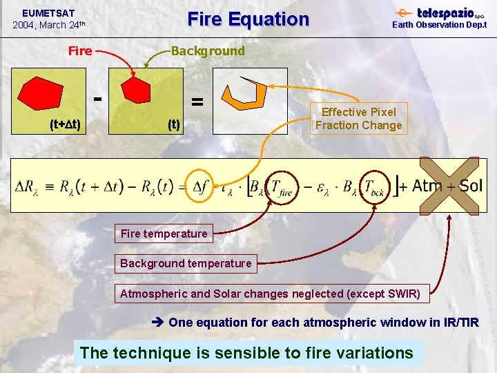 EUMETSAT 2004, March 24 th Fire Equation Fire Background (t+Dt) Earth Observation Dep. t