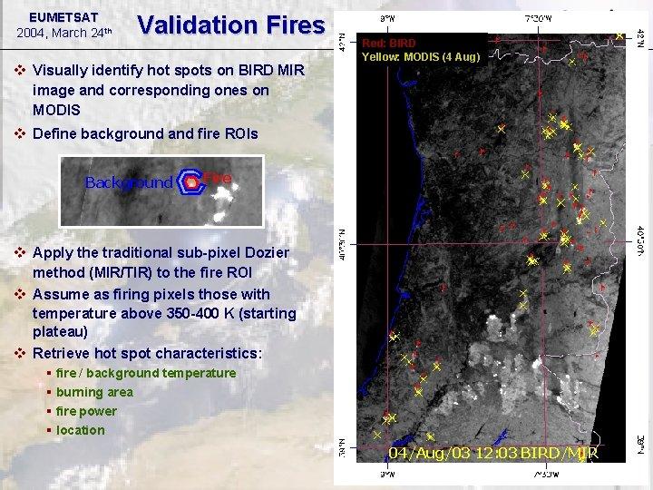 EUMETSAT 2004, March 24 th Validation Fires v Visually identify hot spots on BIRD