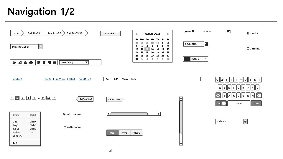Navigation 1/2 Home Sub Item 1. 1. 1 3 G Button text 12: 34