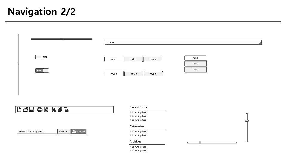 Navigation 2/2. . . Status OFF Tab 1 Tab 2 Tab 3 . .