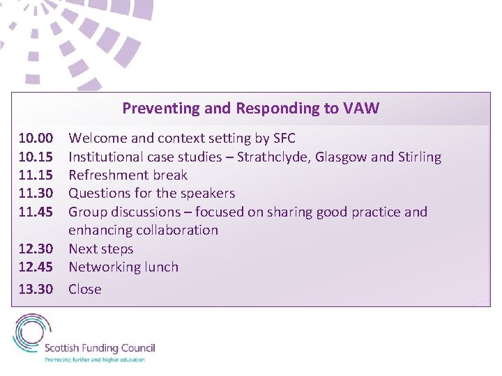 Preventing and Responding to VAW 10. 00 10. 15 11. 30 11. 45 Welcome