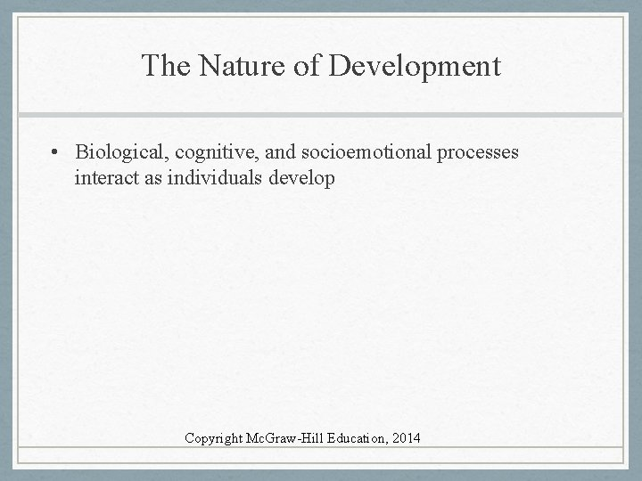 The Nature of Development • Biological, cognitive, and socioemotional processes interact as individuals develop