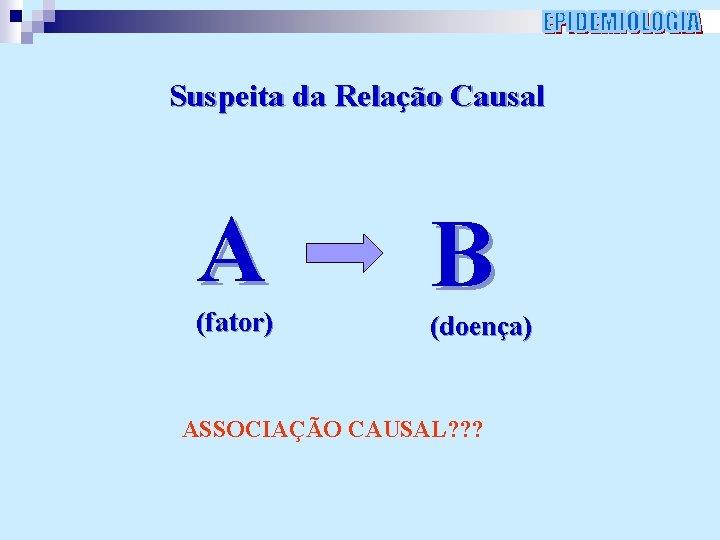 Suspeita da Relação Causal A (fator) B (doença) ASSOCIAÇÃO CAUSAL? ? ?