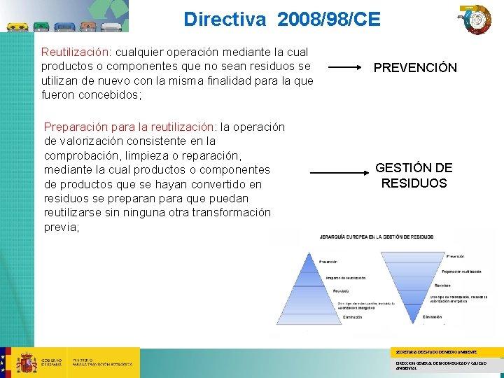 Directiva 2008/98/CE Reutilización: cualquier operación mediante la cual productos o componentes que no sean