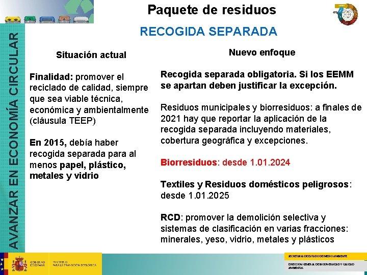 AVANZAR EN ECONOMÍA CIRCULAR Paquete de residuos RECOGIDA SEPARADA Situación actual Finalidad: promover el