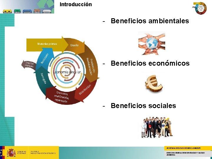 Introducción - Beneficios ambientales - Beneficios económicos - Beneficios sociales SECRETARÍA DE ESTADO DE