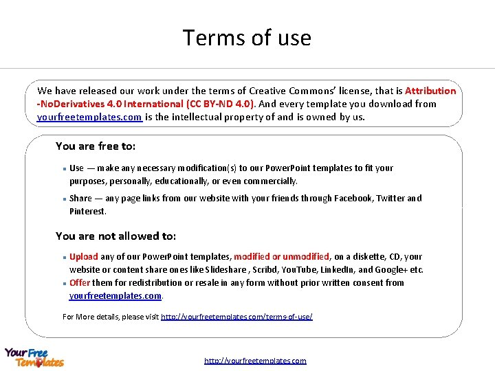 Terms of use We have released our work under the terms of Creative Commons'