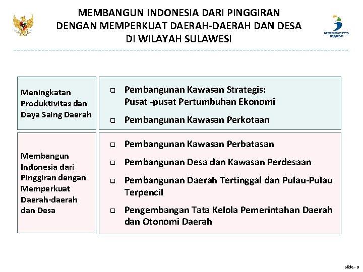 MEMBANGUN INDONESIA DARI PINGGIRAN DENGAN MEMPERKUAT DAERAH-DAERAH DAN DESA DI WILAYAH SULAWESI Meningkatan Produktivitas