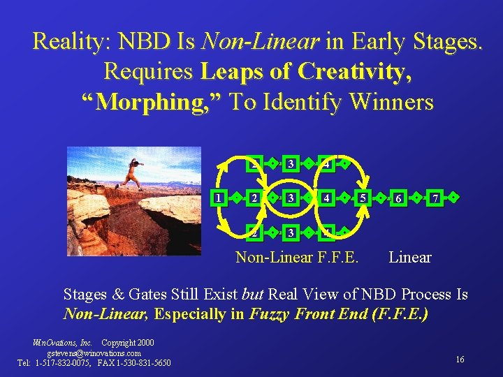 """Reality: NBD Is Non-Linear in Early Stages. Requires Leaps of Creativity, """"Morphing, """" To"""