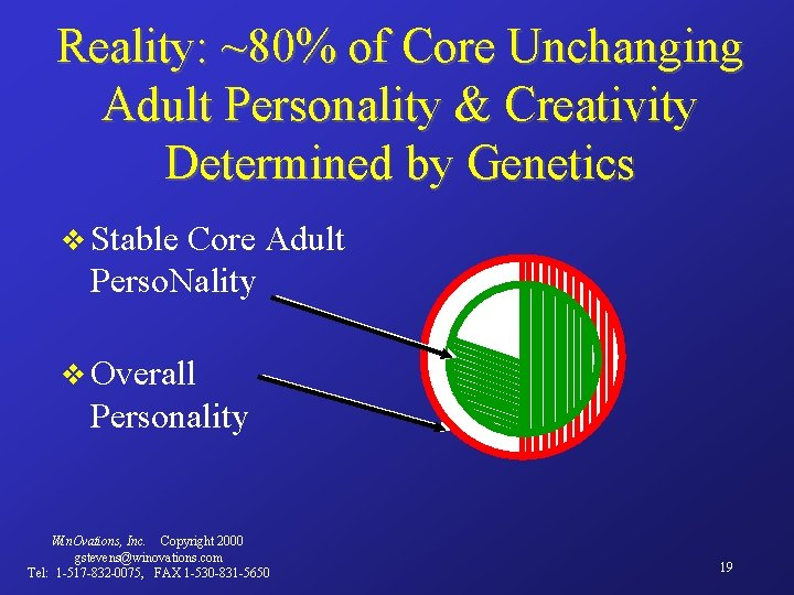 Reality: ~80% of Core Unchanging Adult Personality & Creativity Determined by Genetics v Stable