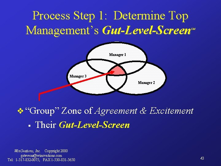 Process Step 1: Determine Top Management's Gut-Level-Screen SM Manager 1 Manager 3 Manager 2