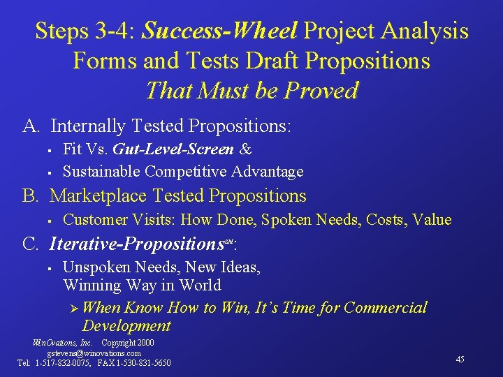 Steps 3 -4: Success-Wheel Project Analysis Forms and Tests Draft Propositions That Must be