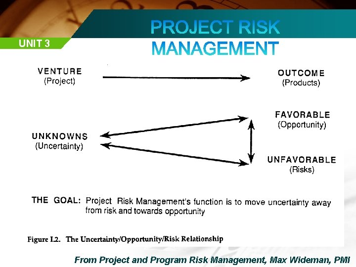UNIT 3 From Project and Program Risk Management, Max Wideman, PMI