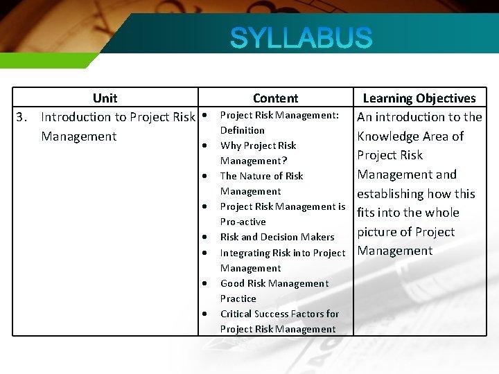 3. Unit Introduction to Project Risk Management Content Project Risk Management: Definition Why Project