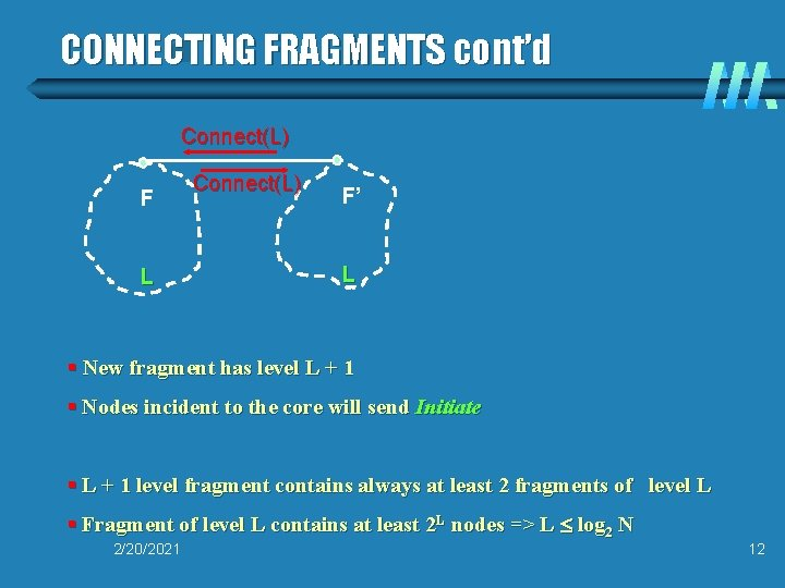 CONNECTING FRAGMENTS cont'd Connect(L) F L Connect(L) F' L § New fragment has level