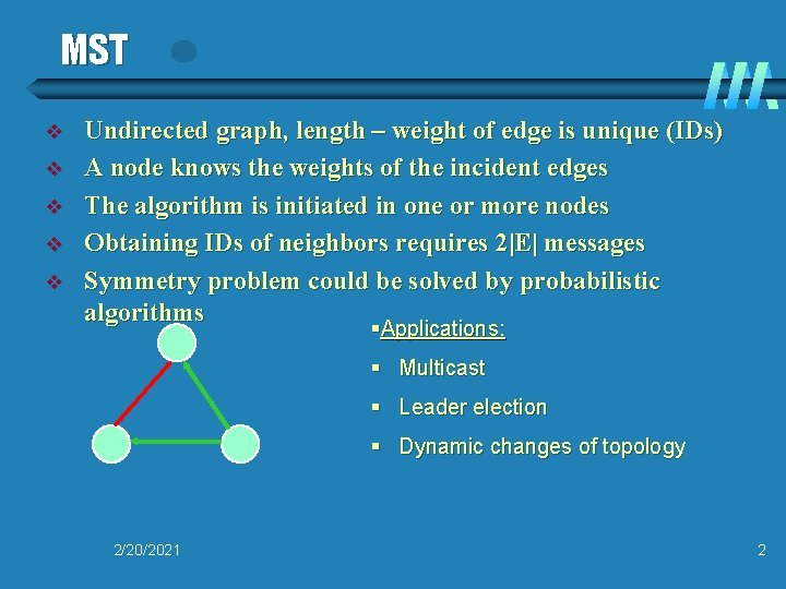 MST v v v Undirected graph, length – weight of edge is unique (IDs)