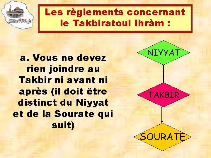 Les règlements concernant le Takbiratoul Ihràm : a. Vous ne devez rien joindre au
