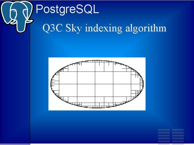 Postgre. SQL Q 3 C Sky indexing algorithm