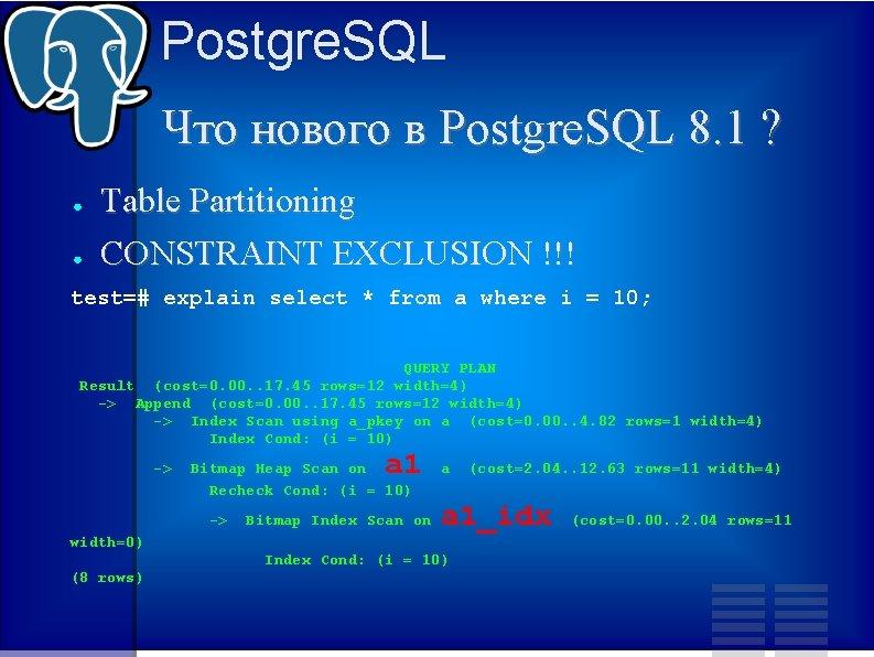 Postgre. SQL Что нового в Postgre. SQL 8. 1 ? ● ● Table Partitioning