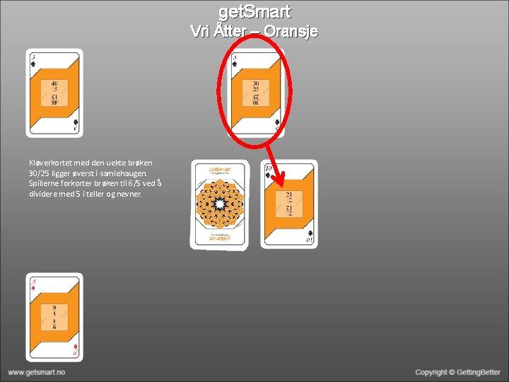 get. Smart Vri Åtter – Oransje Kløverkortet med den uekte brøken 30/25 ligger øverst