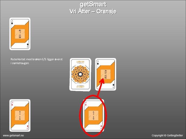 get. Smart Vri Åtter – Oransje Ruterkortet med brøken 6/5 ligger øverst i samlehaugen.