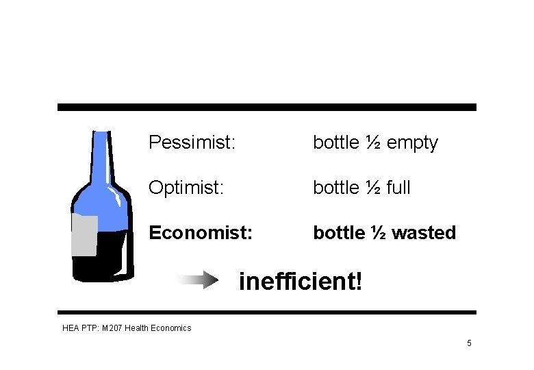 Pessimist: bottle ½ empty Optimist: bottle ½ full Economist: bottle ½ wasted inefficient! HEA