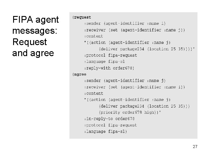 FIPA agent messages: Request and agree 27