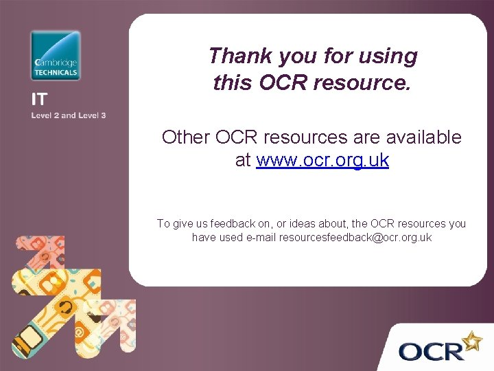 Thank you for using this OCR resource. Other OCR resources are available at www.
