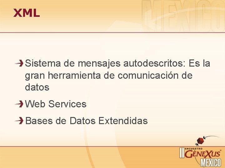 XML Sistema de mensajes autodescritos: Es la gran herramienta de comunicación de datos Web