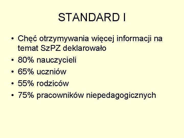 STANDARD I • Chęć otrzymywania więcej informacji na temat Sz. PZ deklarowało • 80%