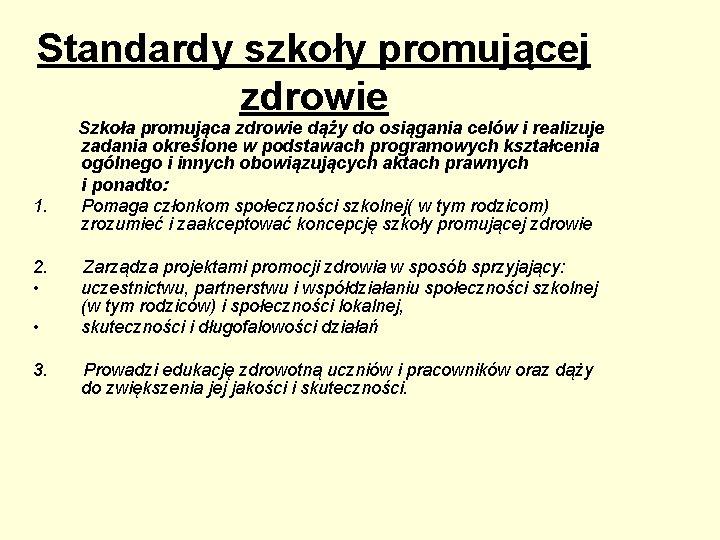Standardy szkoły promującej zdrowie 1. 2. • • 3. Szkoła promująca zdrowie dąży do