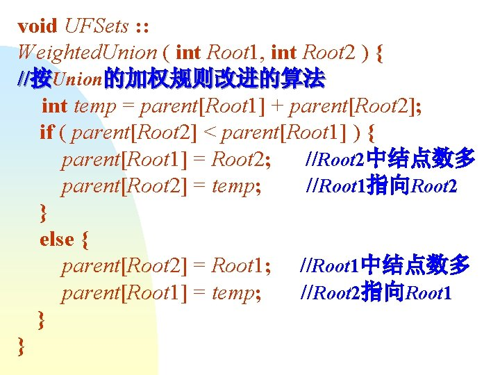 void UFSets : : Weighted. Union ( int Root 1, int Root 2 )