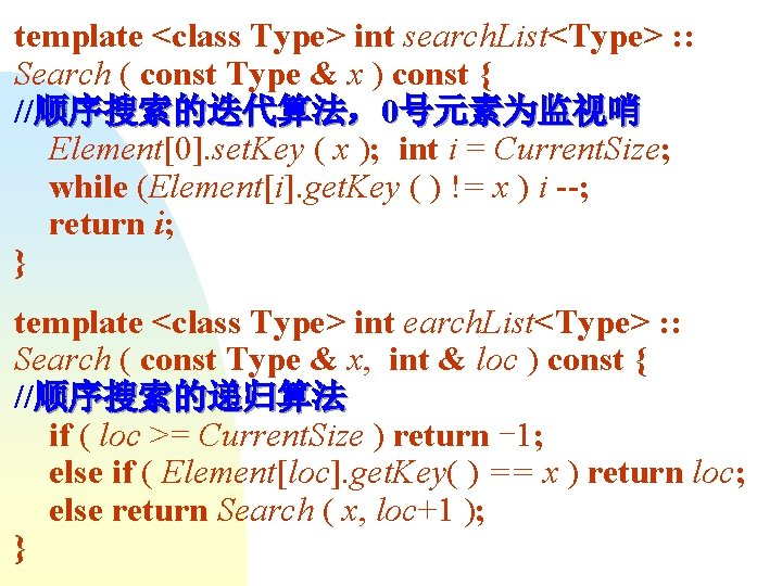 template <class Type> int search. List<Type> : : Search ( const Type & x