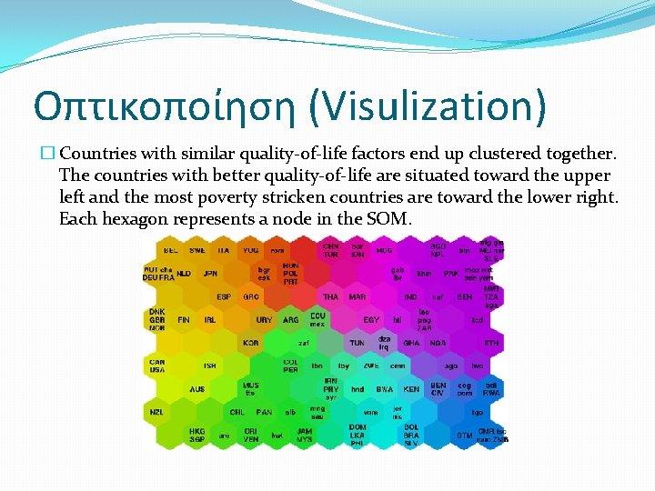 Οπτικοποίηση (Visulization) � Countries with similar quality-of-life factors end up clustered together. The countries