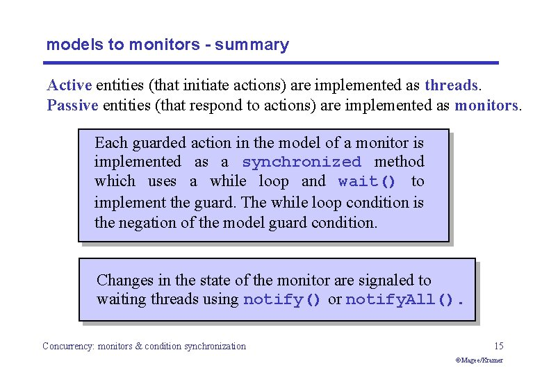 models to monitors - summary Active entities (that initiate actions) are implemented as threads.