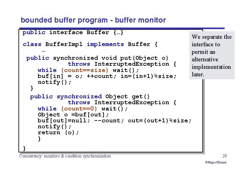 bounded buffer program - buffer monitor public interface Buffer {…} class Buffer. Impl implements