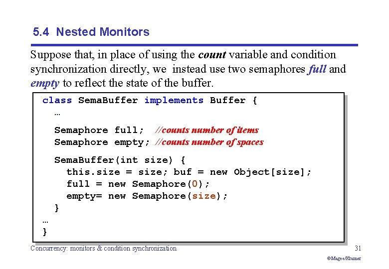 5. 4 Nested Monitors Suppose that, in place of using the count variable and