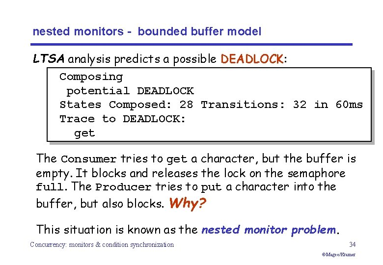 nested monitors - bounded buffer model LTSA analysis predicts a possible DEADLOCK: Composing potential