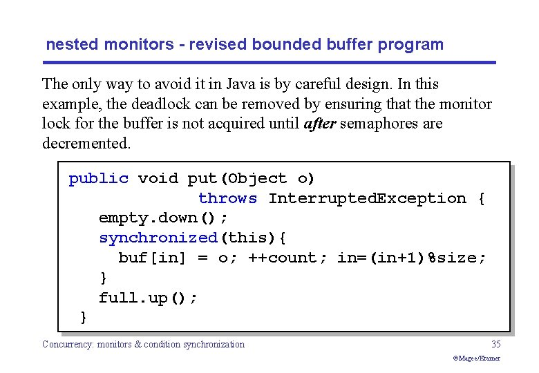 nested monitors - revised bounded buffer program The only way to avoid it in