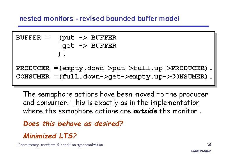 nested monitors - revised bounded buffer model BUFFER = (put -> BUFFER  get ->