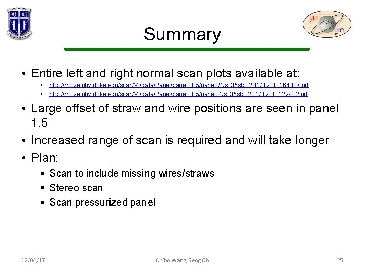Summary • Entire left and right normal scan plots available at: § http: //mu