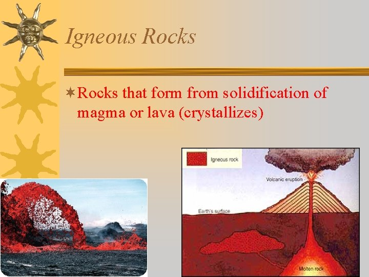 Igneous Rocks ¬Rocks that form from solidification of magma or lava (crystallizes)