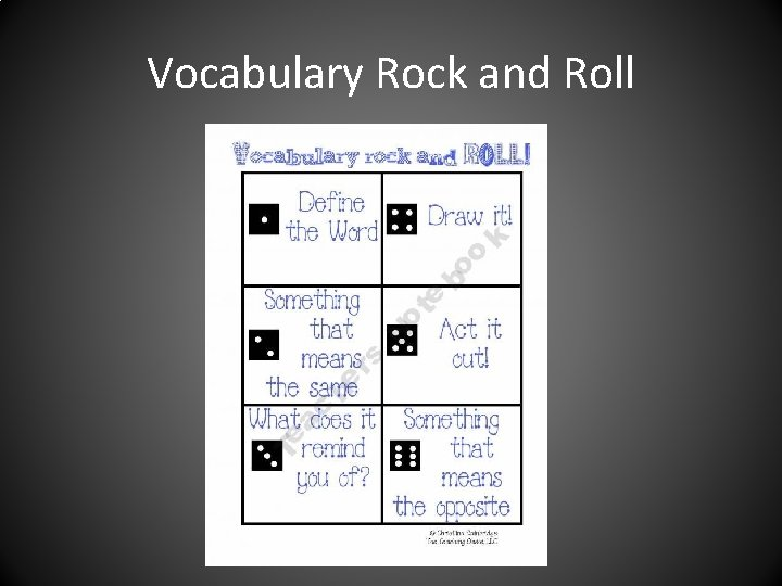 Vocabulary Rock and Roll