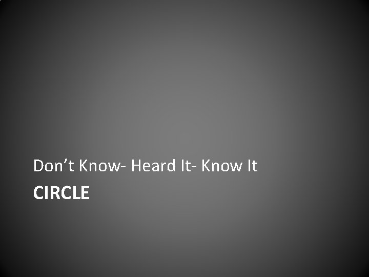 Don't Know- Heard It- Know It CIRCLE