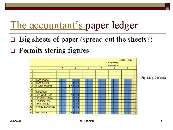 The accountant's paper ledger o o Big sheets of paper (spread out the sheets?