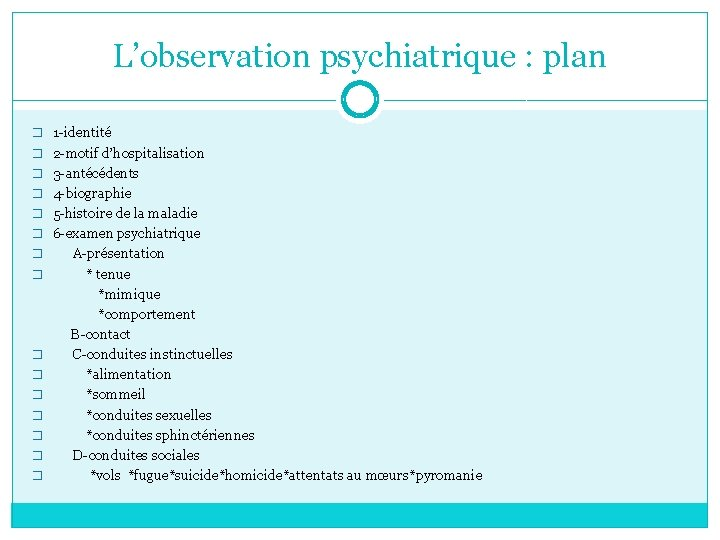 L'observation psychiatrique : plan � 1 -identité � 2 -motif d'hospitalisation � 3 -antécédents