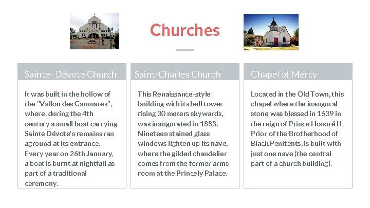 "Churches Sainte- Dévote Church It was built in the hollow of the ""Vallon des"